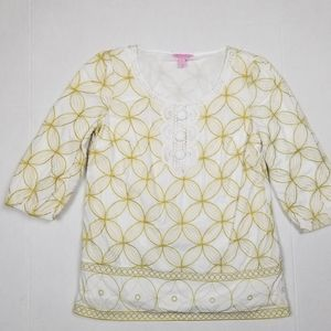 Lilly Pulitzer Gold Embroidered Top Sz XS EUC